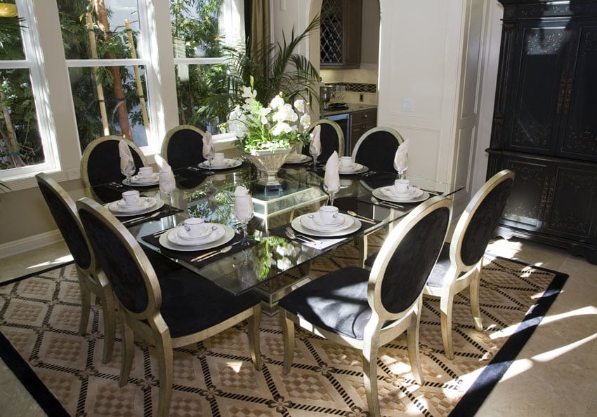 Gold and black dining set