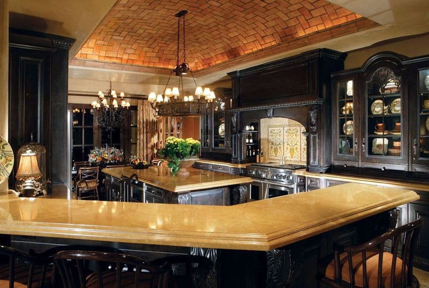 Brick countertops free picturesque chrome double for Tuscan style kitchen lighting