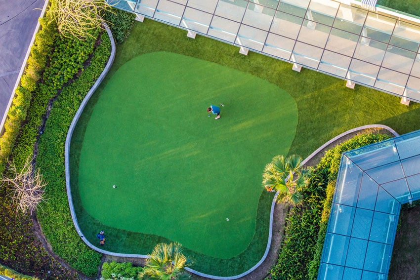 Large golf putting green from above