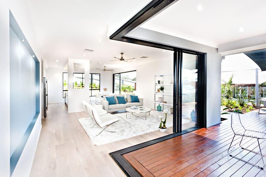 Living room open to backyard deck