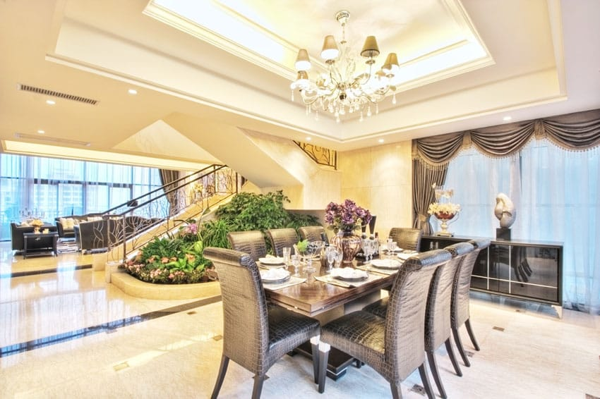Luxury dining room with tray ceiling