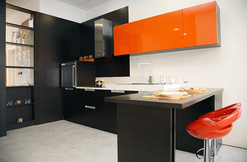 Modern kitchen with black cabinets and red cabinets with red bar stools