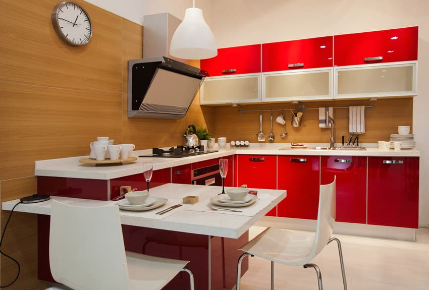 modern-kitchen-with-red-cabinets-and-white-countertop