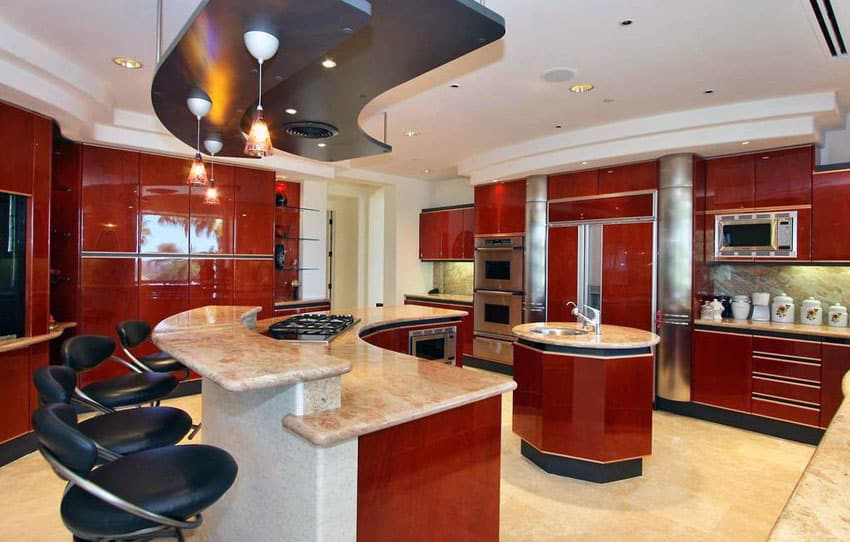 modern-kitchen-with-red-gloss-cabinets-breakfast-bar-island-with-beige-granite-countertops