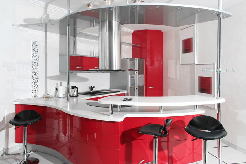 modern-red-and-white-kitchen-with-curved-peninsula