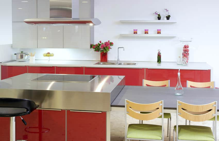 modern-red-kitchen-with-island-and-attached-dining-table