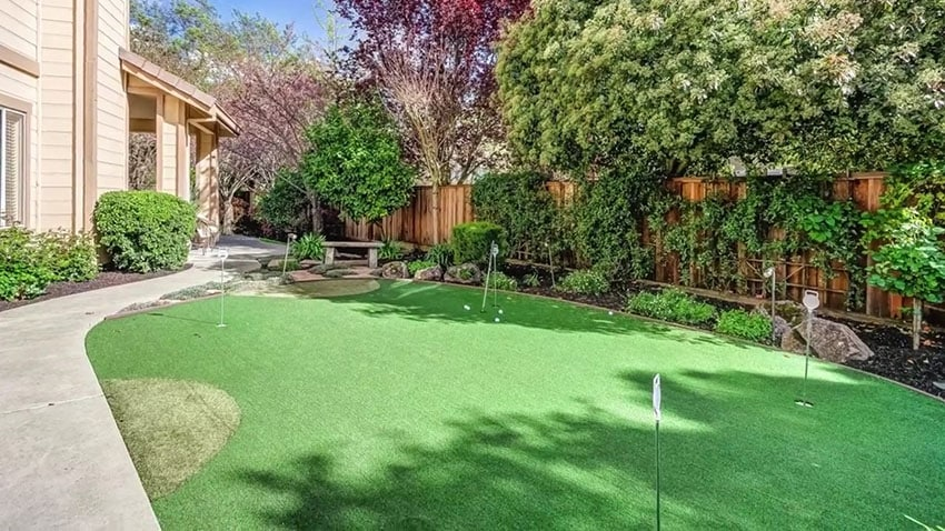Putting green in homes backyard