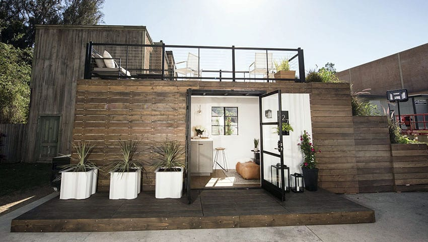Shipping container tiny house with sun deck