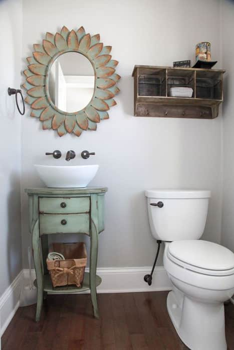 Small bathroom with eclectic console table