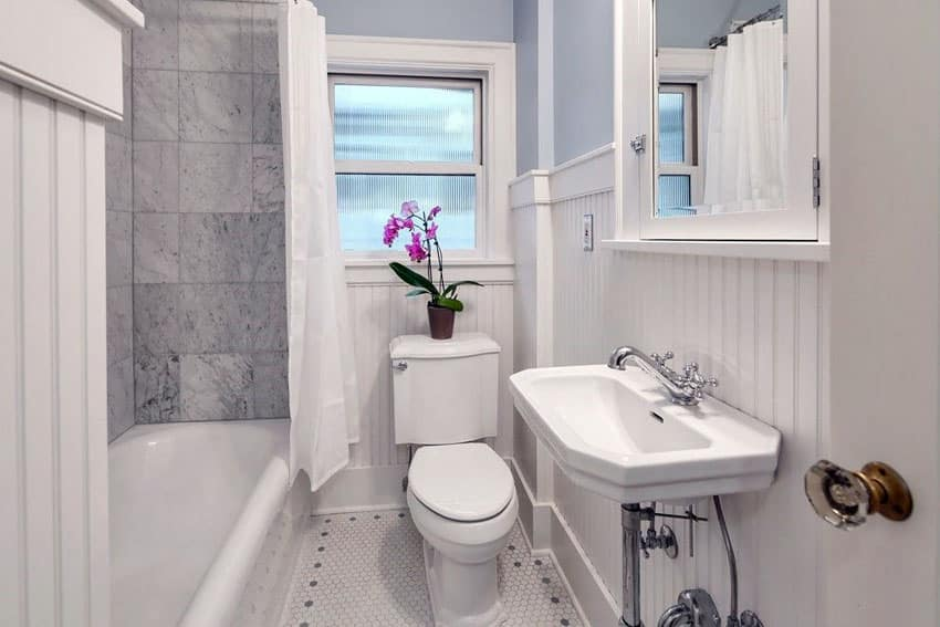 Small bathroom with sink and exposed pipes and plant on toilet