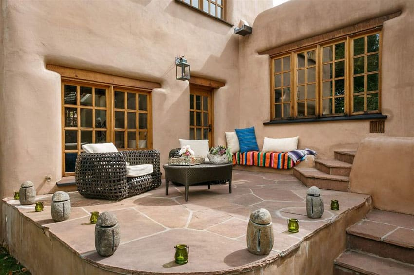 Spanish style patio with large flagstones