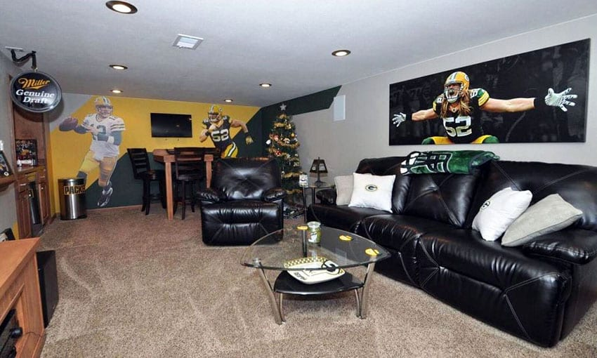 Sports football man cave with player wall mural