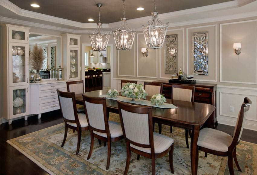 Tan and white dining room with dark wood floors