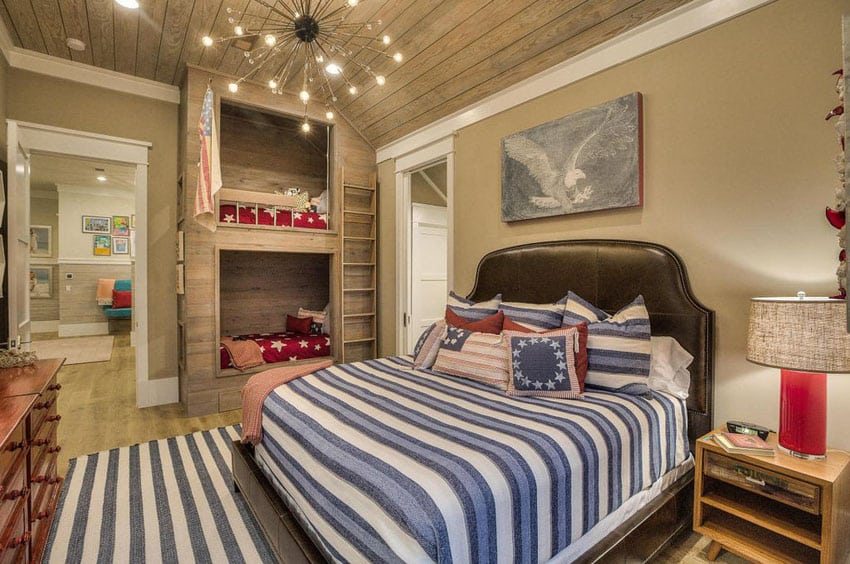 Tan guest bedroom with contemporary style and bunk beds