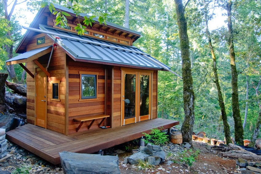 Tiny house constructed from redwood
