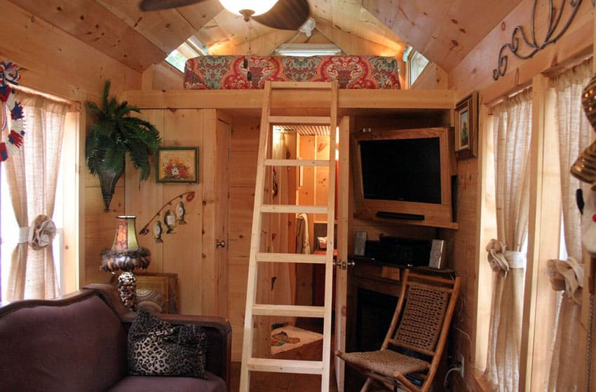 Tiny house interior with loft bed