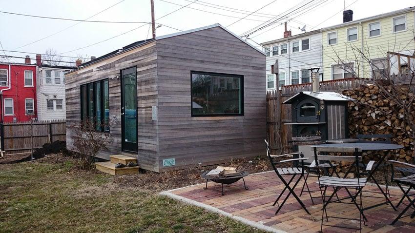 Tiny house with wood slat siding