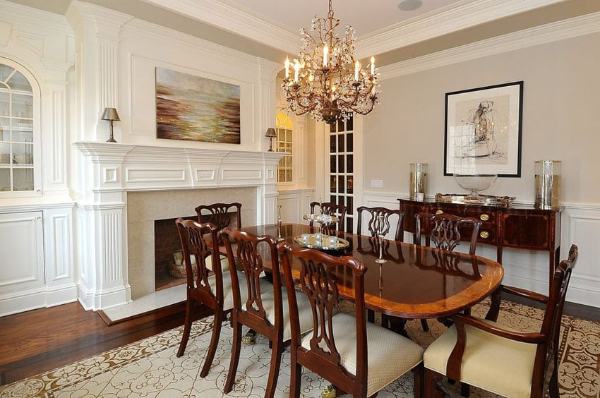 25 formal dining room ideas design photos designing idea for Traditional dining room fireplace