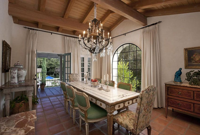 Traditional luxury dining room at Mediterranean house