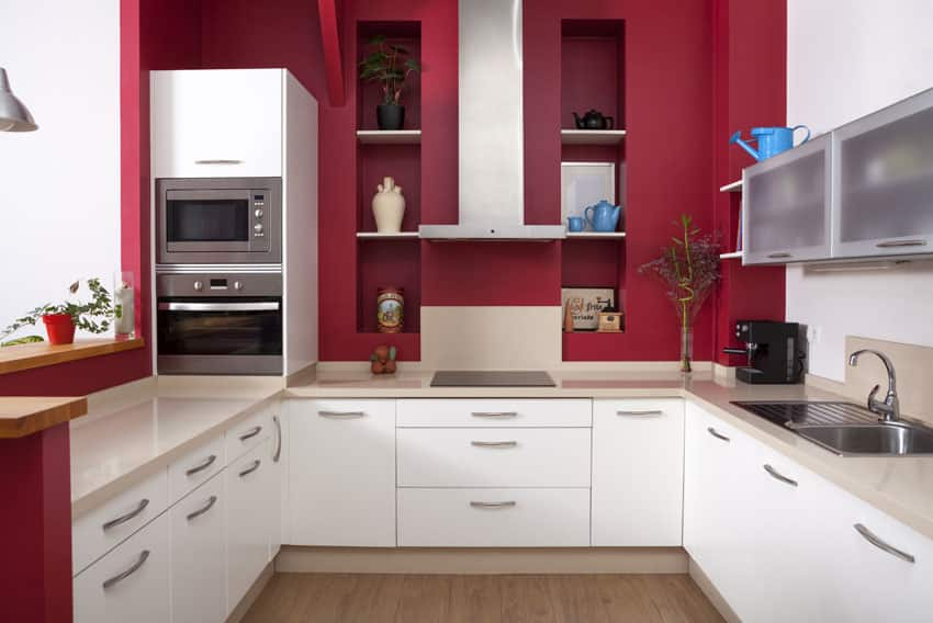 u-shaped-modern-kitchen-with-white-base-cabinets-and-painted-red-walls
