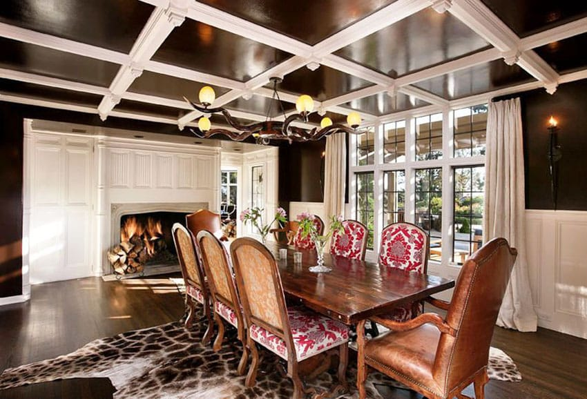 White and dark brown dining room design
