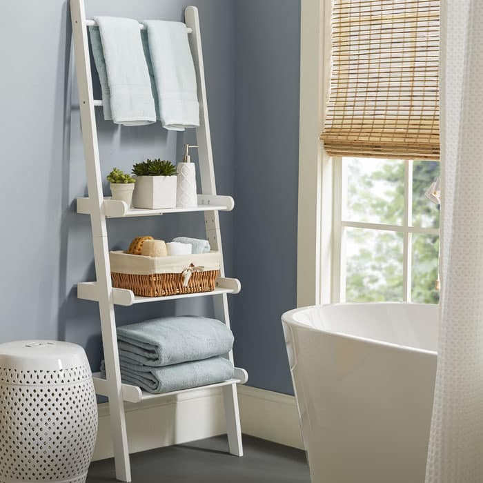 White bathroom shelf with tiered design