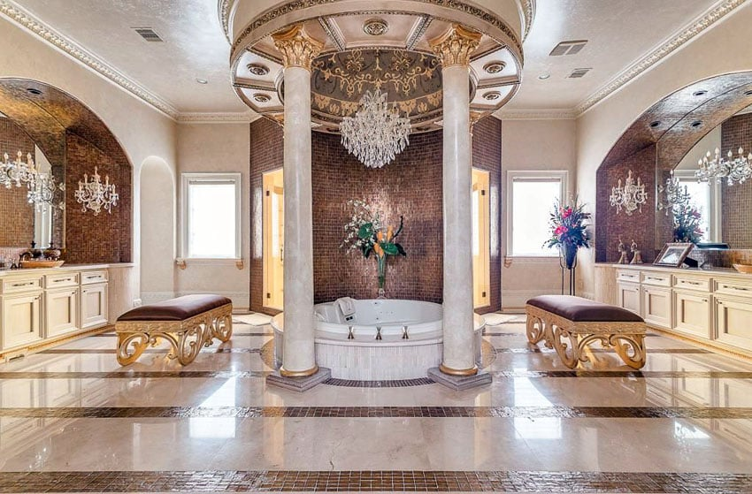 luxurious mansion bathrooms pictures designing idea. Black Bedroom Furniture Sets. Home Design Ideas