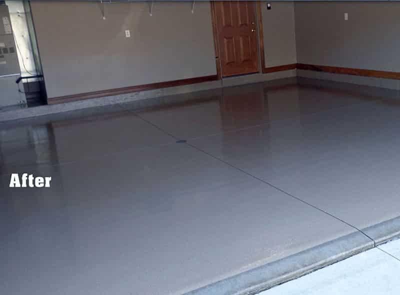Garage floor with epoxy coating after