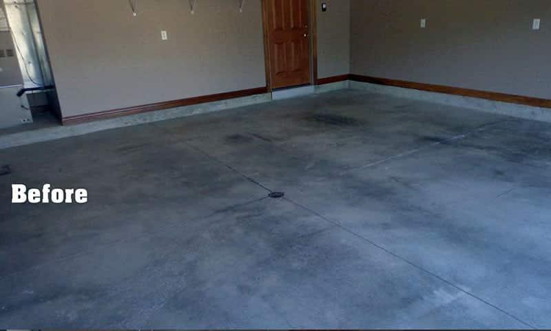 Garage floor with epoxy coating before