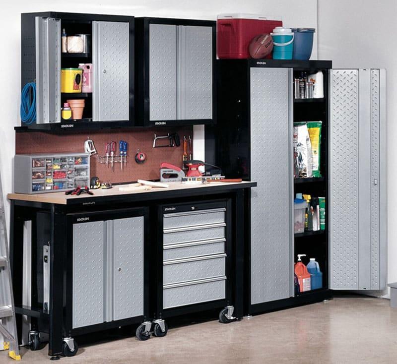 Garage storage cabinets with metal doors