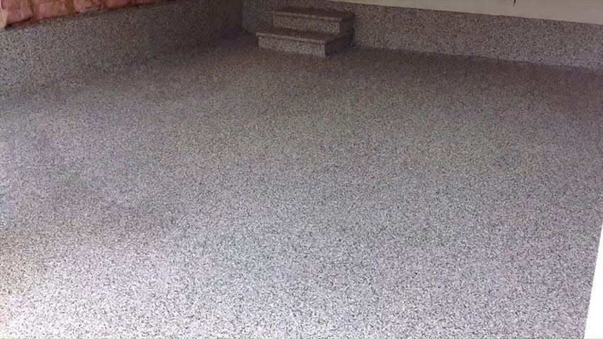 Gray polyasparatic polyurea coating for garage floor after picture