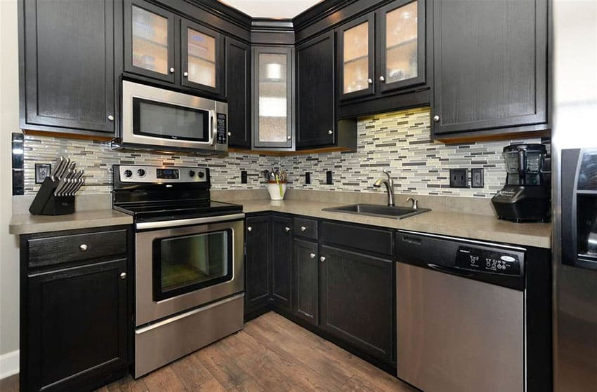 Small contemporary l shaped kitchen with black cabinets
