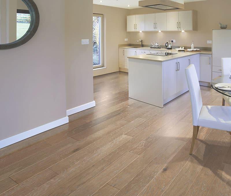 Engineered oak wood floors to kitchen