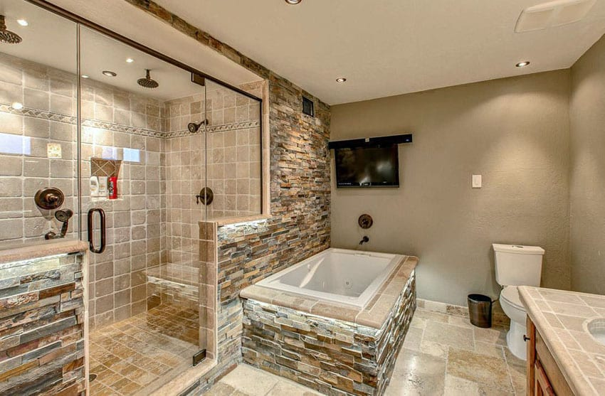 Travertine shower ideas bathroom designs designing idea
